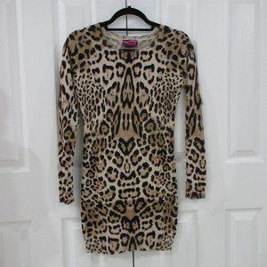 Say What? Animal Print Sweater Mini Dress Size S